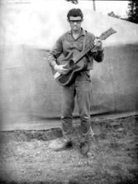 лето 1967 года, трудовой отряд. В это время, на этом месте, с этой гитарой написал первую песню.