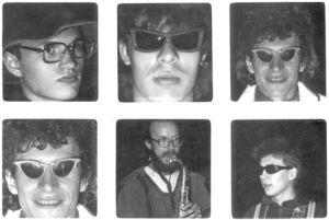 """Музыканты группы """"Доктор"""" 1984 год, съемки фильма """"Эй, Семенов!"""", Мофильм, студия """"Дебют"""", режиссер Николай Данелия. Фото из коллекции С.Летова."""