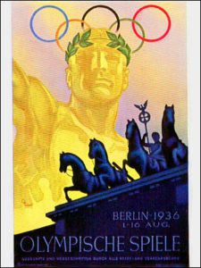 Плакатик с берлинских игр 36 года. Посмотрите на золотого дяденьку, у его кольцы аки рога получились. Красавец!