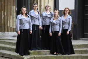 Embargoed to 0001 Wednesday July 27 EDITORIAL USE ONLY Ladies of the Monteverdi Choir wear new jackets designed by Dame Vivienne Westwood and Andreas Kronthaler at Henry Wood Hall in London.